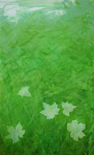 Piknik, akryylimaali ja liitu kankaalle, 2010
